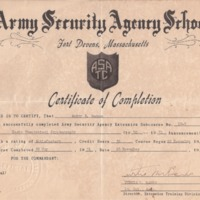 1951-11-26 Audry Gagnon Cryptography School Certificate from ASA.fw.png