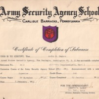 1951-02-08 Audry Gagnon Cryptanalysis School Part 1 Sub-Course Certificate ASA.fw.png